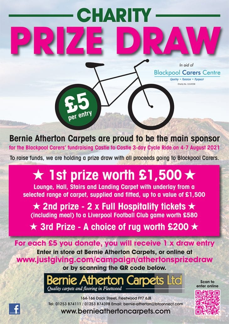 Castle to Castle Sponsor, Bernie Atherton Carpets, have organised a charity Prize Draw with some fantastic prizes including Liverpool FC Hospitality and 3